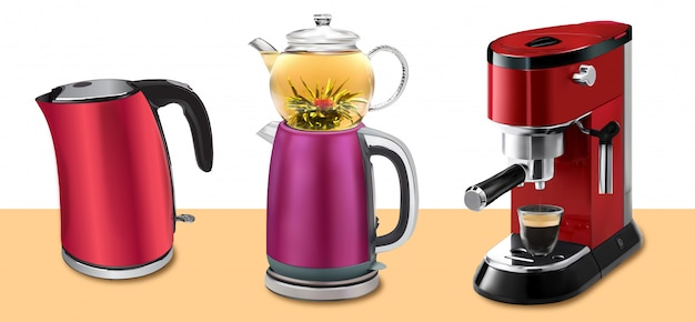Illustration set of red coffee machine with cup of coffee, red kettle and traditional turkish kettle with teapot isolated