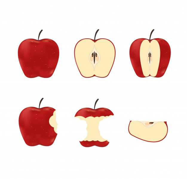 Illustration of set red ripe apples