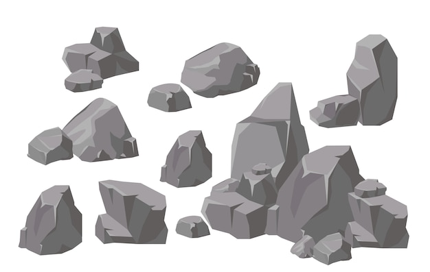 Illustration set of rocks and stones elements and compositions in flat cartoon style. cartoon stone for games and backgrounds.