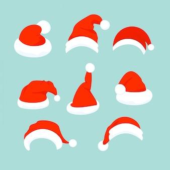 Illustration of set of santa hats in flat cartoon design.