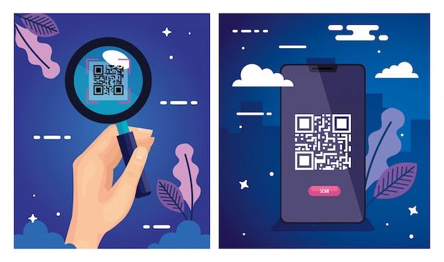 Illustration set of scan code qr and elements illustration