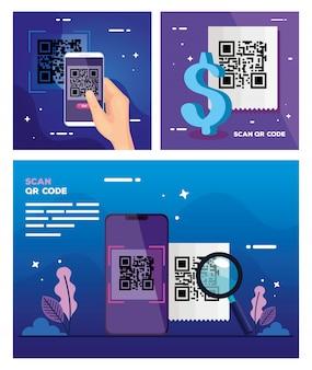 Illustration set of scan code qr and elements
