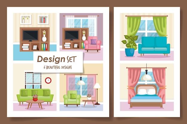 Illustration set scenes interior of home