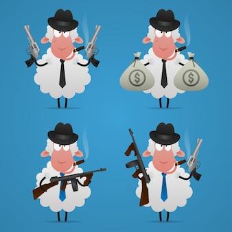 Иллюстрация, набор овец-гангстеров в разных позах, формат eps 10
