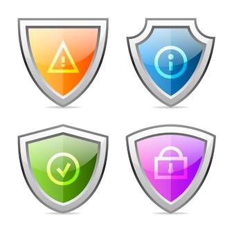 Иллюстрация, набор щитов с опознавательными знаками, формат eps 10