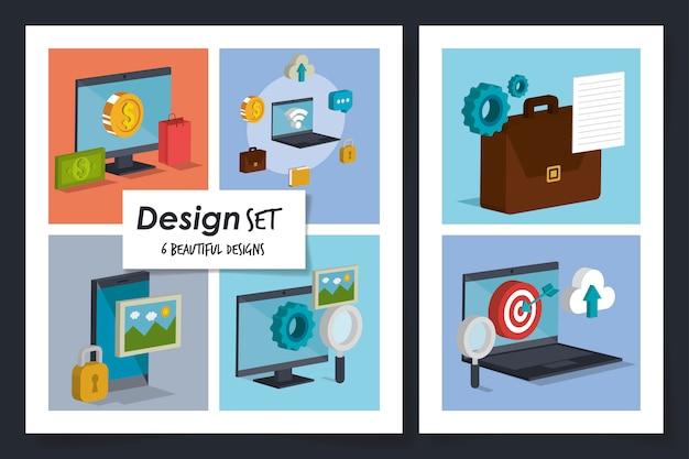 Illustration set of social marketing