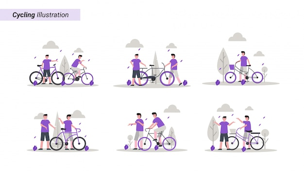 Illustration set of someone biking in the park in the morning with his friend