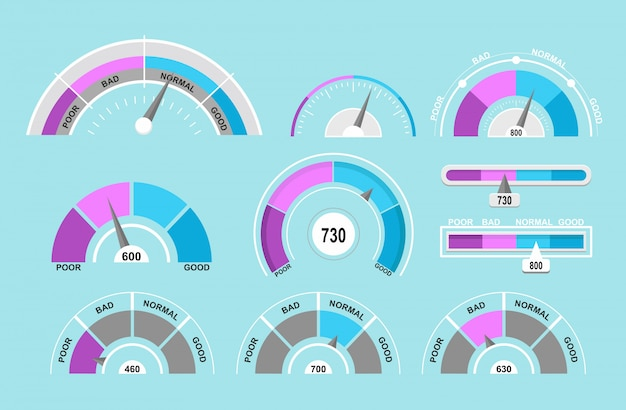 Illustration set of speedometers and pointers. indicators collection on blue background in flat cartoon style.