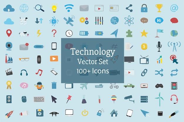 Insieme dell'illustrazione del vettore delle icone di tecnologia