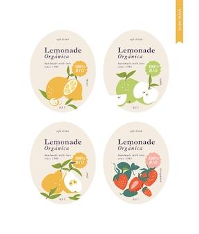 レモネードをパッケージ化するためのイラストセットテンプレートラベル。さまざまな味-柑橘類、梨、リンゴ、イチゴ。