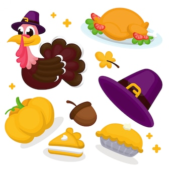 Illustration set of thanksgiving elements, turkey, food, pumpkin, hat, and pie with cartoo