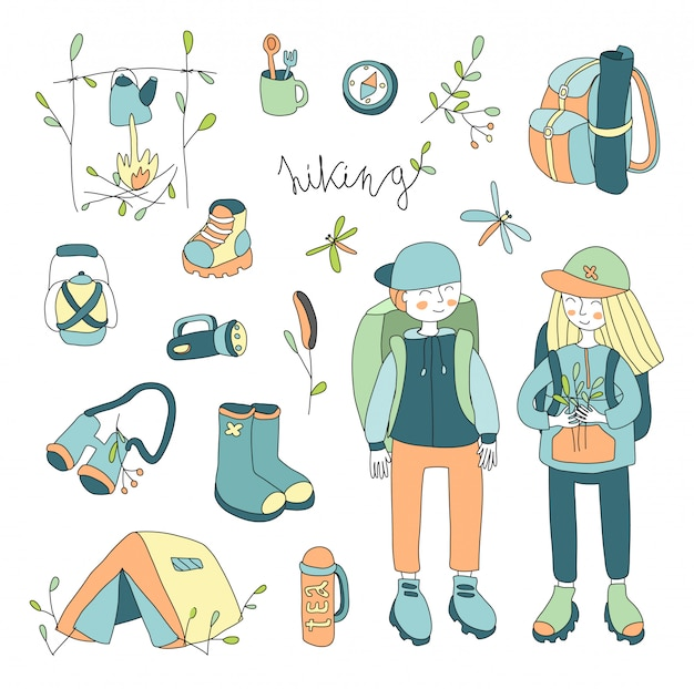 Illustration set on the theme of outdoor, hiking , camping, picnic.