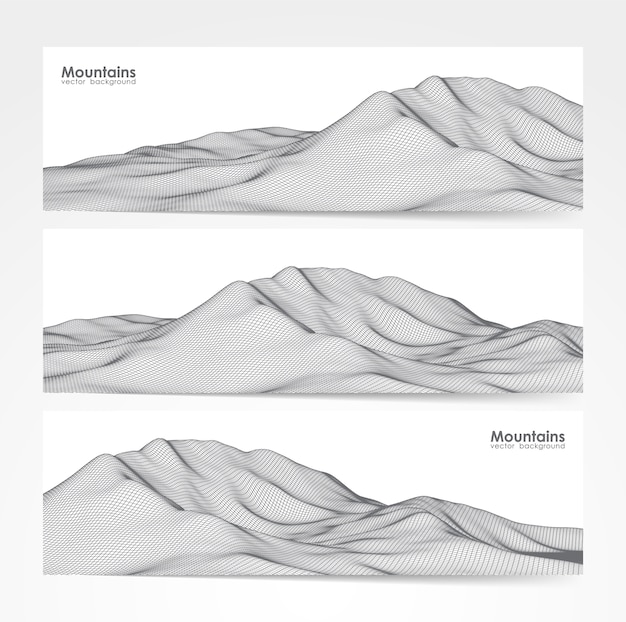 Illustration: set of three banner layout with wireframe mountains landscape.