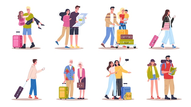 Illustration set of tourist with laggage and handbag. family trip, businessman with a suitcase.  collection of characters on their journey, family vacation or business trip
