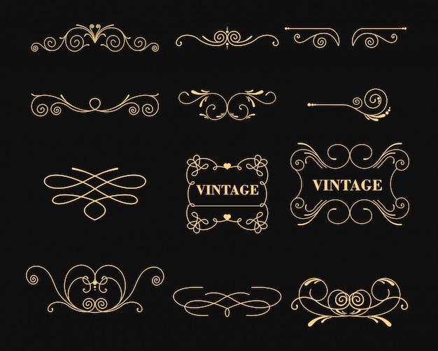 Illustration set of vintage graphic s for decoration on black background. emblem, heraldic monogram. calligraphic floral . gold frames.