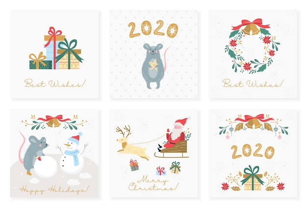 Illustration set of vintage posters for christmas and new year. set of holiday card in retro style. collection of banner with christmas decoration and gift, santa claus, red bow, golden bells