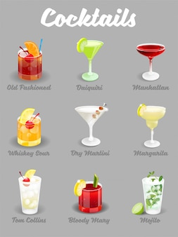 Illustration set with different alcoholic ice freeze cocktails