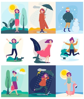 Illustration set of woman walking in different seasons
