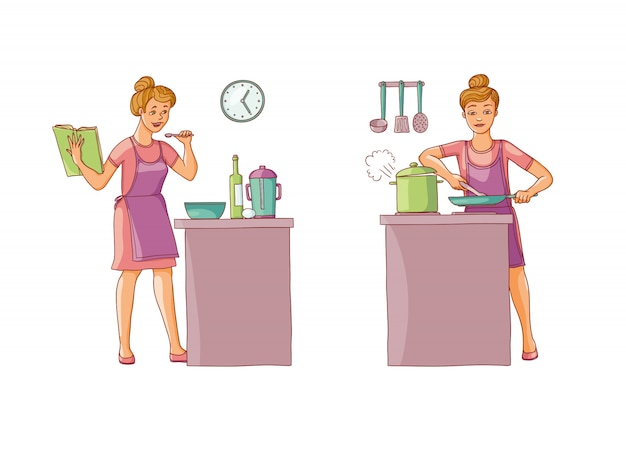 Illustration set of women preparing food in the kitchen. character is holding a cookbook with recipes and prepares food.