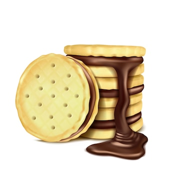 Illustration of several sandwich-cookies with chocolate filling.