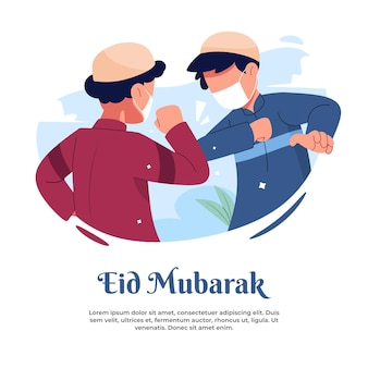 Illustration of shaking hands in the middle of a pandemic during eid