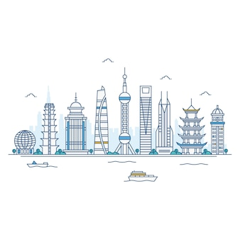 Illustration of shanghai skyline.