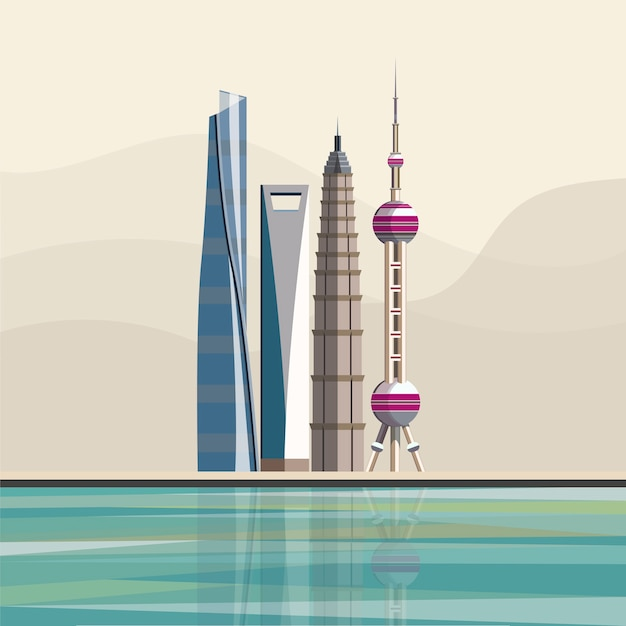 Illustration of shanghainese landmark skyscrapers