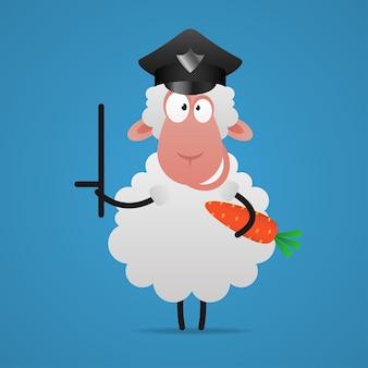 Иллюстрация, овец, полицейский держит палку и морковь, формат eps 10