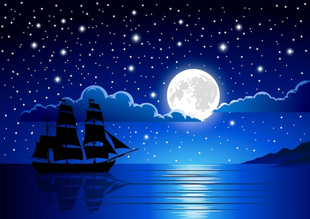Illustration of ship in moon night