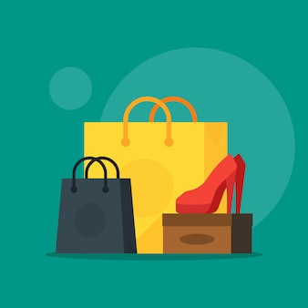 Illustration of shoe and cosmetics with shopping bag showing sale