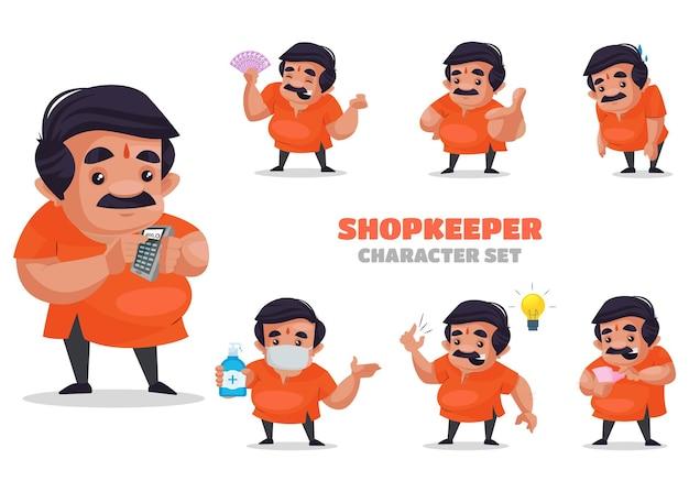 Illustration of shopkeeper character set