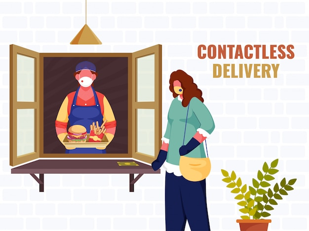 Illustration of shopper woman giving food parcel to customer from window during coronavirus for contactless delivery concept.