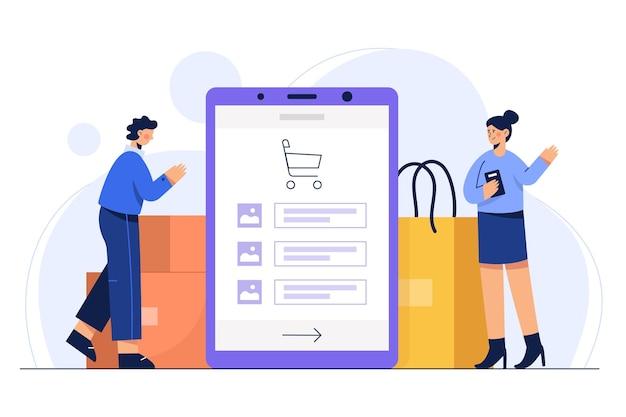 Иллюстрация концепция покупок в интернете с помощью мобильного телефона заказывает продукт в упаковке и транспортной сумке.