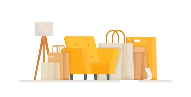 Illustration of a shopping room environment for online orders and online shopping a chair littered with packages and parcels from delivery