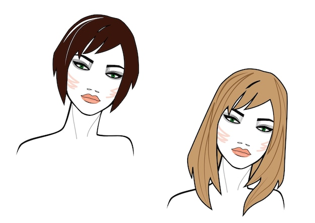 Illustration of short hair and long style women face on white background colored