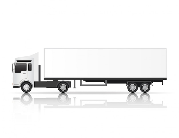 Illustration side view of white truck.