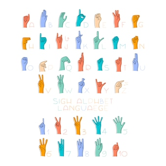 Illustration of sign language hands and alphabet for deaf.