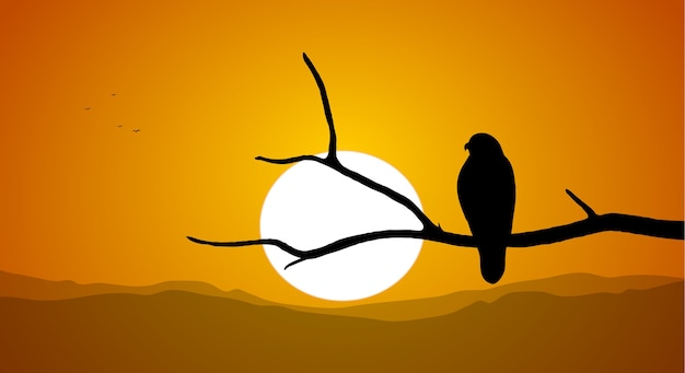 Illustration: silhouette of buzzard sitting on a dry branch against the setting sun.