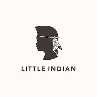 Illustration silhouette indian child symbol of culture traditional use feather sign