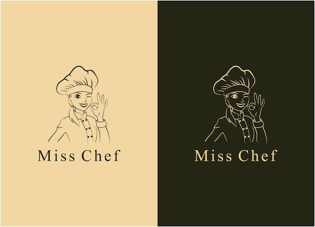 Illustration silhouette miss chef character sign logo restaurant icon