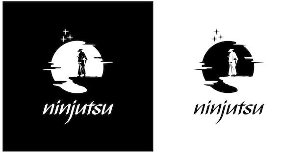Иллюстрация силуэт ниндзя премиум векторы