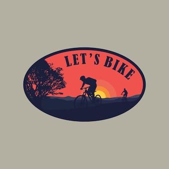 Иллюстрация силуэт люди делают спортивный велосипед на открытом воздухе логотип соизволил шаблон