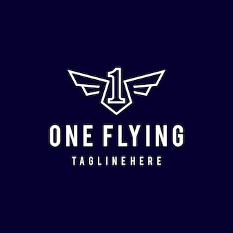 Illustration simple modern line art number one flying with wings angel logo design template art