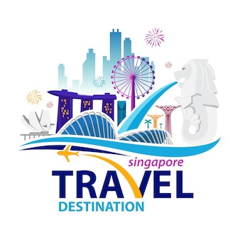 Illustration singapore city skyline