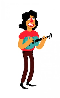 Illustration of a singer with a guitar.