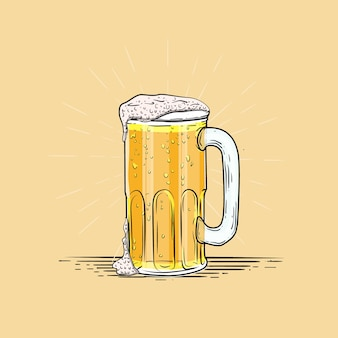 Illustration of single glass beer engraving style