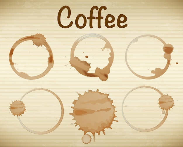 Illustration of six coffee stains