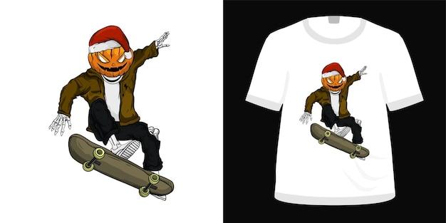 Illustration skate for tshirt design