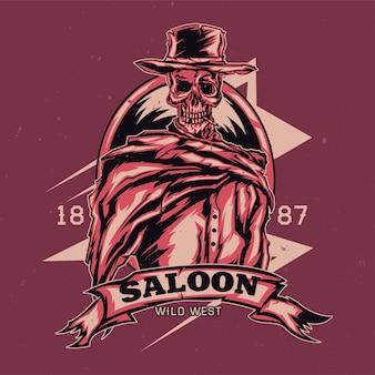 Illustration of skeleton in cowboy hat