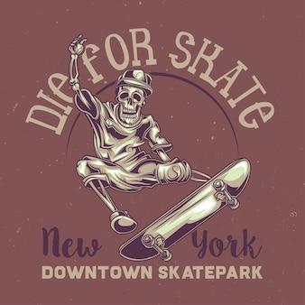 Illustrazione dello scheletro su skateboard